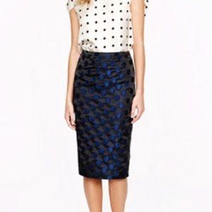 NWT J. Crew Pencil Skirt Dot Brocade Sz 2 $145